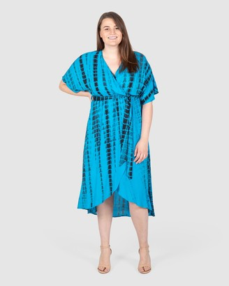 Love Your Wardrobe - Women's Blue Wrap Dresses - Alyce Tie Dye Wrap Dress - Size One Size, 18 at The Iconic