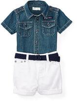 Ralph Lauren Boy Shirt, Short & Belt Set
