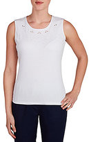 Allison Daley Petites Crew-Neck Embroidered Eyelet Front Detail Solid Tank