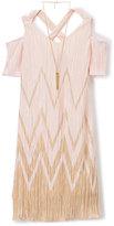 Amy Byer Blush & Gold Chevron Cutout Dress & Pendant Necklace - Girls