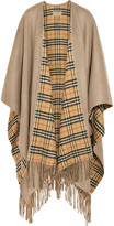 Burberry Reversible Fringed Checked Cashmere And Wool-blend Wrap - Beige