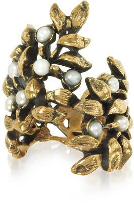 Alcozer & J Mistletoe Brass Ring w/Glass Pearl