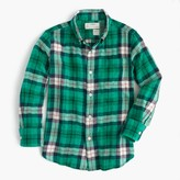 J.Crew Kids' lightweight flannel shirt in emerald plaid