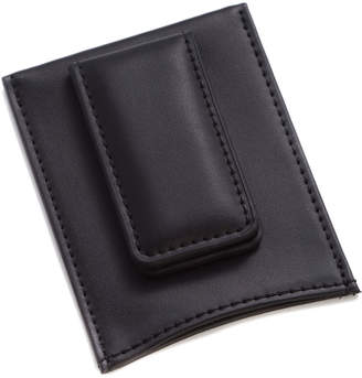 Bey-Berk Black Leather Magnetic Money Clip & Wallet