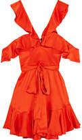 Zimmermann Cold-shoulder Ruffled Silk-satin Mini Dress - Tomato red