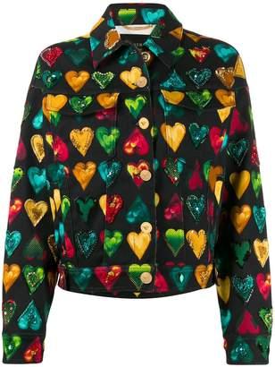 Versace heart print denim jacket