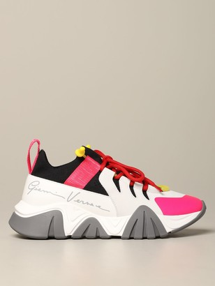 Versace Sneakers In Neoprene Leather And Mesh