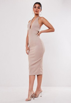 Missguided Champagne Bandage Halterneck Midi Dress