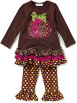 Bonnie Jean Little Girls 2T-6X Thanksgiving Pumpkin Ruffle Dress & Leggings Set