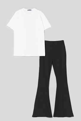 Nasty Gal Womens Together Again Oversized Tee and Flare Trousers Set - Black - 6