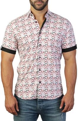 Maceoo Galileo Print Tailored Fit Dress Shirt