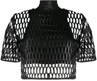 Philipp Plein laser-cut mesh overlay T-shirt