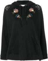 Valentino sequinned floral appliquéd hoodie