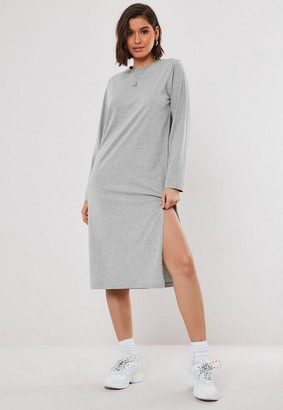 Missguided Gray Long Sleeve Midi T Shirt Dress