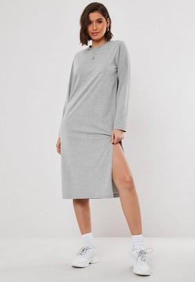 Missguided Grey Basic Long Sleeve Midi T Shirt Dress