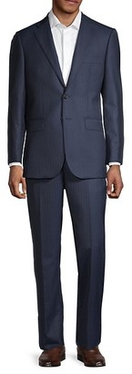 Saks Fifth Avenue Traveller Tailored-Fit Striped Wool Suit