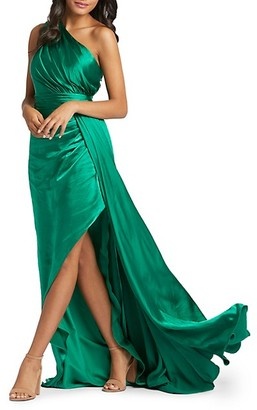 Mac Duggal One-Shoulder Chameuse Gown