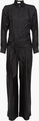 Brunello Cucinelli Belted Cutout Silk-twill Wide-leg Jumpsuit
