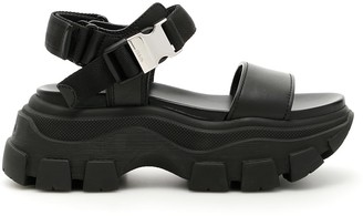 Prada Leather And Fabric Sandals