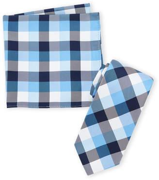 Nautica Navy Plaid Tie & Pocket Square Set
