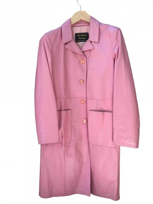 Non Signé / Unsigned Non Signe / Unsigned Pink Leather Coat for Women