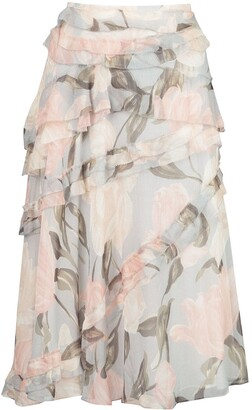 Jason Wu Collection Frill Floral Skirt