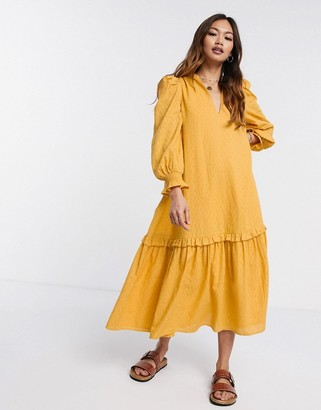 ASOS DESIGN trapeze midi smock dress in textured dobby in mustard