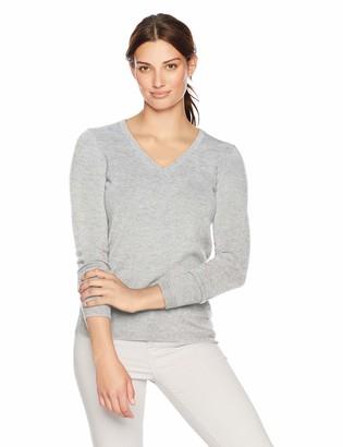 Lark & Ro Women's V-Neck Pullover Cashmere Sweater