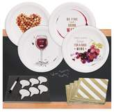 BuySeasons 32ct Wine Party Appetizer Pack with Chalkboard Runner & Cheese Board