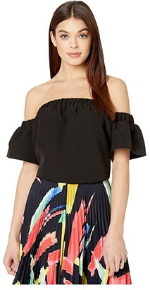Milly Cady Off-the-Shoulder Top (Black) Women's Clothing