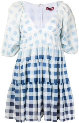 STAUD Ombre Check Print Dress