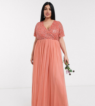Maya Bridesmaid wrap front delicate sequin maxi dress with tulle skirt in coral