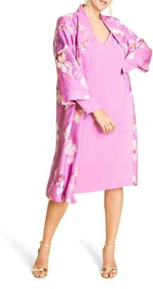 Marina Rinaldi Tiara Flower Print Duster Coat