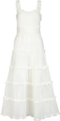 Fendi Ruffle And Pintuck Embellished Midi Dress