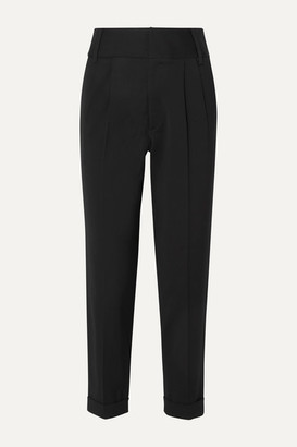 ARIAS Pleated Stretch-canvas Tapered Pants - Black