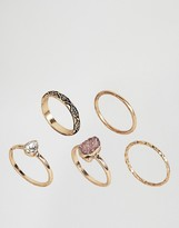 Asos Pack of 5 Stone Etched Ring Pack