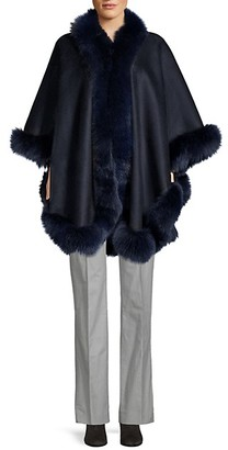 Wolfie Fur Made For Generation Dyed Fox Fur Trim Cashmere Cape