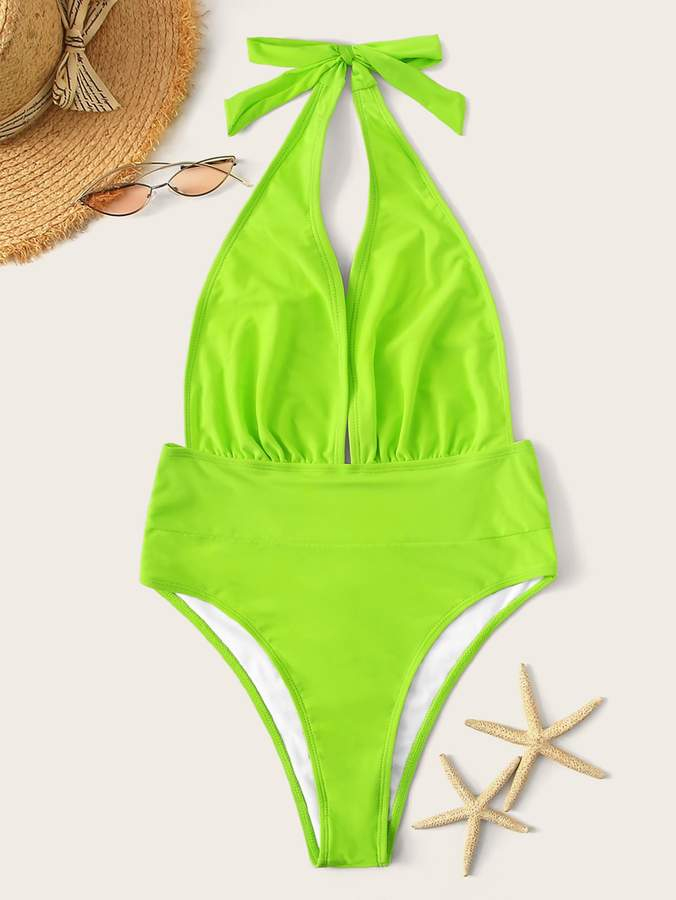 bd7eea6ade0 One Piece Plunging Neckline Swimsuit - ShopStyle