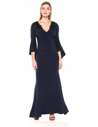 Calvin Klein Women's V Neck Gown with Cascading Bell Sleeves and Side Ruch