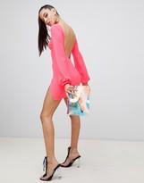Asos Design DESIGN balloon sleeve mini dress with thigh split