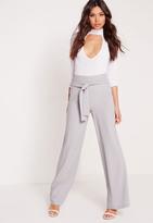 Missguided Premium Wide Leg Pants Grey