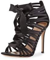 Gianvito Rossi Strappy Lace-Up Satin Sandal, Black
