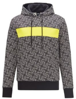 HUGO BOSS Relaxed Fit Hoodie In French Terry With Monogram Pattern - Black