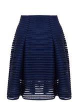Quiz Curve Navy Mesh Ribbed Midi Skirt