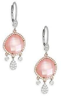 Meira T Women's Rose Quartz, Rose Gold Mother-Of-Pearl & 18K Rose Gold Drop Earrings
