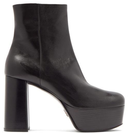 Prada Leather Platform Ankle Boots - Black