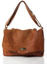 Carla Mancini Light Brown Leather Embossed Medium Satchel Handbag