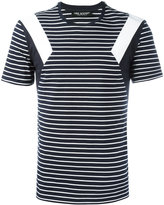 Neil Barrett geometric detail striped T-shirt