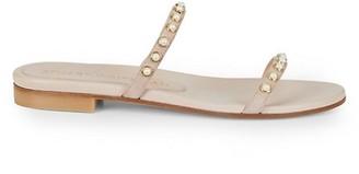 Stuart Weitzman Ameliese Faux Pearl-Embellished Leather Slides
