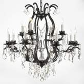 Gallery Wrought Iron and Crystal, 12-Light Chandelier